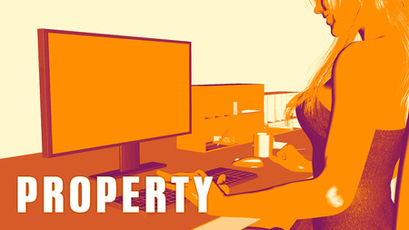 studying classroom: Property Concept Course with Woman Looking at Computer Stock Photo