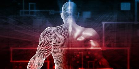 neurosurgery: Human Implant Concept Technology as a Illustration Stock Photo