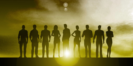 motivated: Silhouette of Business People on a Sunset Background as Abstract Stock Photo