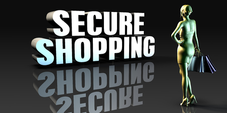 secure shopping: Secure Shopping as a Concept with Lady Holding Shopping Bags