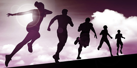 joggers: Silhouette of Joggers Running Against the Sun