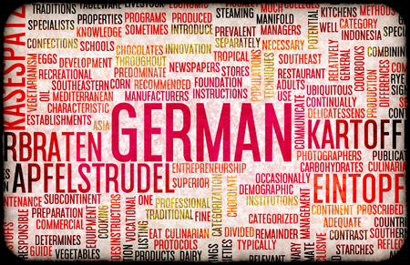 german food: German Food and Cuisine Menu Background with Local Dishes Stock Photo