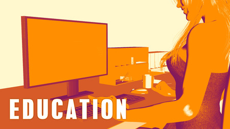 computer education: Education Concept Course with Woman Looking at Computer