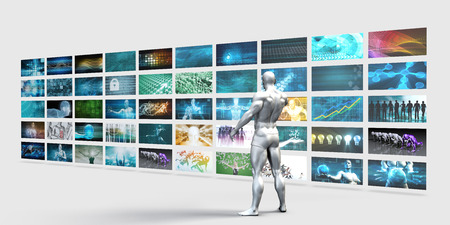 multimedia background: Video Wall on White Background with Man Changing Channels