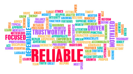 reliable: Reliable Word Cloud Concept on White