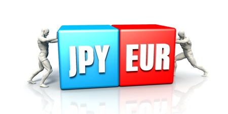 the weakening: JPY EUR Currency Pair Fighting in Blue Red and White Background