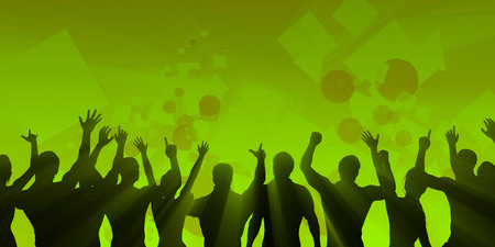crowd cheering: Music Festival Crowd Silhouette Cheering as Concept Stock Photo