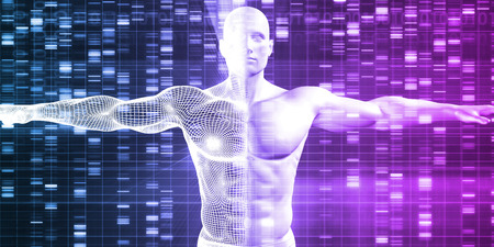 genetic information: Genetics with Science Data as a Futuristic Concept Stock Photo