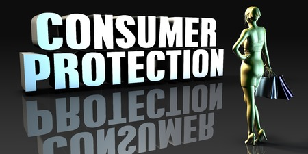 consumer: Consumer Protection as a Concept with Lady Holding Shopping Bags Stock Photo