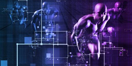 medical research: Science and Technology with Men Running as Futuristic Concept Stock Photo