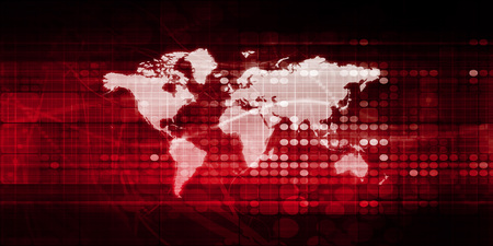 digital world: World Business Background with Map and Digital Data
