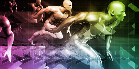 hombres corriendo: Men Running in Technology Background as a Concept