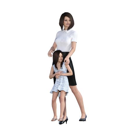 madre trabajando: Hija de la madre interacción del tiempo disfrutando juntos como una ilustración del concepto