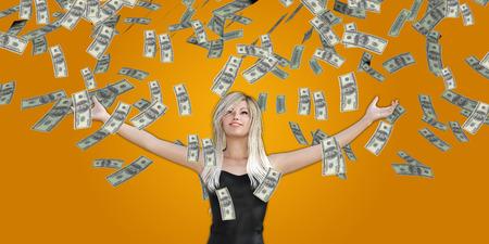 raining: Cogida de la mujer Dinero que cae del cielo en dólares estadounidenses Foto de archivo