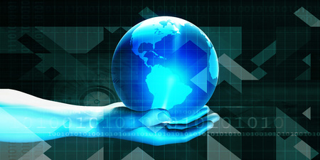 businessman carrying a globe: Futuristic Background with Businessman and Globe in Hands