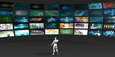 publicity: Video Marketing Across Multiple Channels and Networks Stock Photo