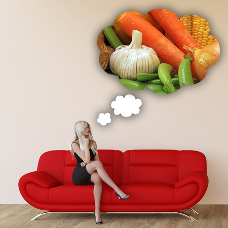 craving: Woman Craving Organic Vegetables and Thinking About Eating Food Stock Photo