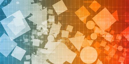 randomized: Random Shapes Background Scattered on a Design Grid Background