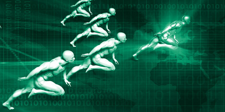 realtime: Logistics Delivery with Men Running at Full Speed Stock Photo