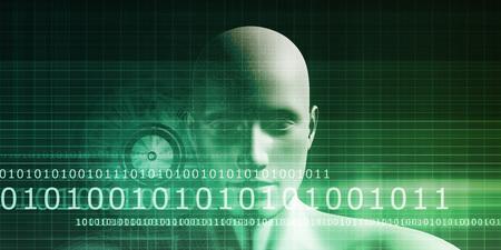 visualization: Mind Brain Code as Data Visualization Concept Art Stock Photo