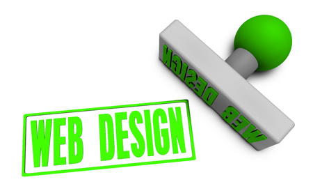 Web Design Stamp or Chop on Paper Concept in 3d