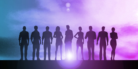 Business Team Professionals with Silhouettes Illustration With Sky