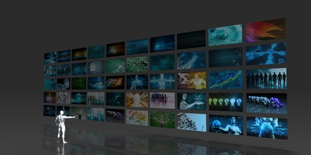 video wall: Man Looking into Video Wall Screens in 3d