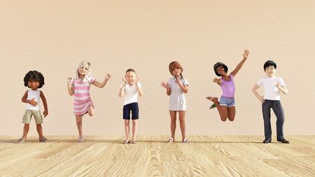 Niños felices en una guardería o centro de guardería