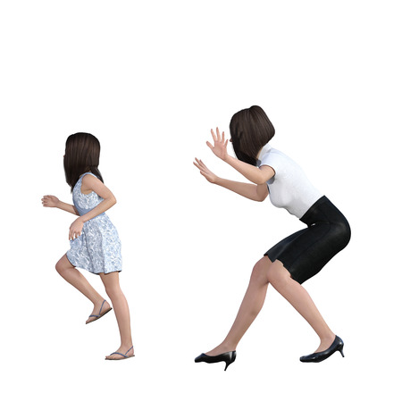 Mother Daughter Interaction of Mom Scaring Girl as an Illustration Concept