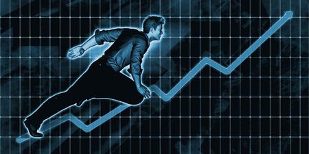 European Businessman Charging Ahead on Blue Background Art