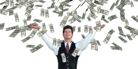 raining: Corporativo hombre de negocios Dinero de cogida que caen del cielo en dólares estadounidenses Foto de archivo
