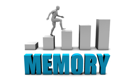 improving: Memory 3D Concept  in Blue with Bar Chart Graph Stock Photo