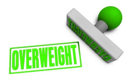 stamped: Overweight Stamp or Chop on Paper Concept in 3d Stock Photo