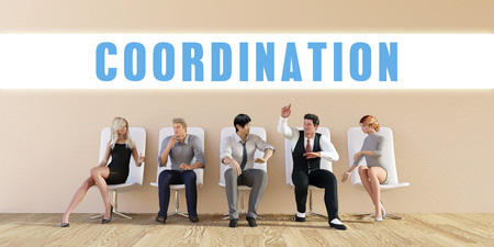 discussed: Business Coordination Being Discussed in a Group Meeting Stock Photo