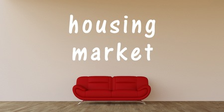 housing market: Housing Market Concept with Home Interior Art Stock Photo