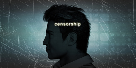censorship: Man Experiencing Censorship as a Personal Challenge Concept Stock Photo
