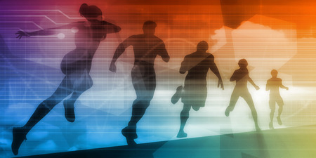 Sports Illustration Abstract Background with Silhouette Art