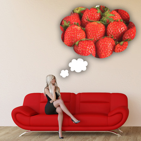 craving: Woman Craving Strawberries and Thinking About Eating Food