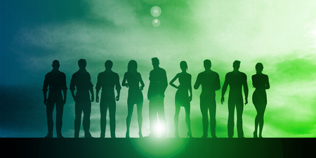 Business People Standing in a Row Art
