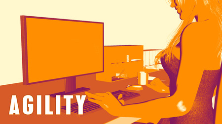 agility: Agility Concept Course with Woman Looking at Computer