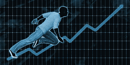 goal setting: Black Businessman Charging Ahead on Blue Background Art Stock Photo