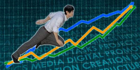 Asian Businessman Running with Chart Graph Background Art