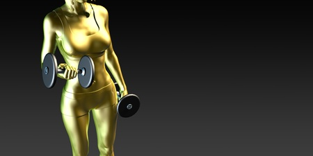 Metal Steel Woman Lifting Weights as a Fitness Concept