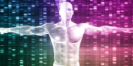 genotype: Genetics with Science Data as a Futuristic Concept Stock Photo