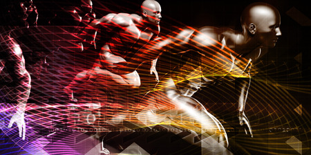 trainers: Fitness Technology and Sports Monitoring Data Concept Background