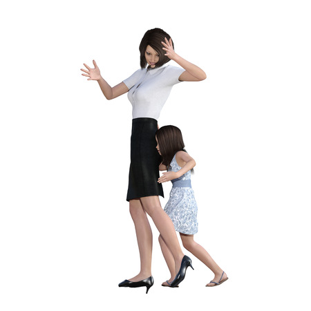 Mother Daughter Interaction of Girl Pushing Mom as an Illustration Concept