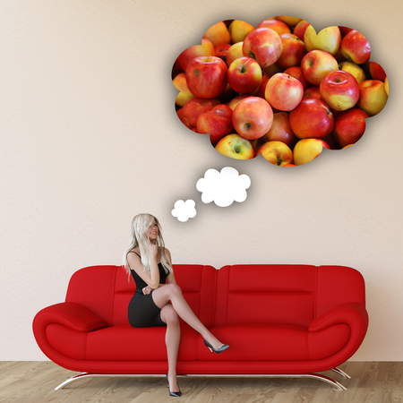 craving: Woman Craving Apples Repair and Thinking About Eating Food