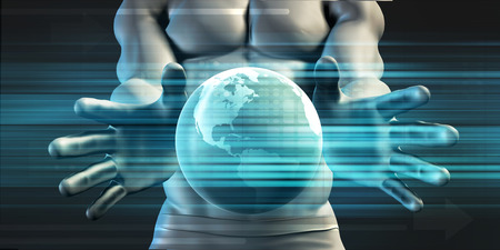 cradling: Hands Cradling Globe as a Business Technology Concept