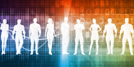 Business People Standing in a Row Confident Stock Photo