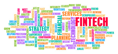 word: Fintech Word Cloud Concept on White Stock Photo